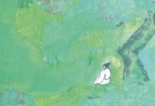 Grünkraft atmen 2011, Tusche, Collage auf Leinwand, 40 x 40 cm