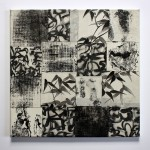o. T. 2011, Collage mit Tuscheelementen, 40 x 40 cm