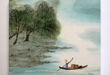 Fischer 2011, Tusche auf Chinapapier auf Keilrahmen, 30 x 30 cm