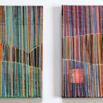 Streifenpaar 2013, Papiercollagen, 2 x 20 x 20 cm