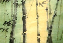 Sonnenschein im Bambuswald, 2004, Tusche, 70 x 100 cm, gerahmt