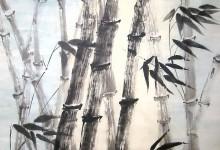 Abendstimmung im Bambushain 2004, Tusche, 70 x 90 cm, gerahmt